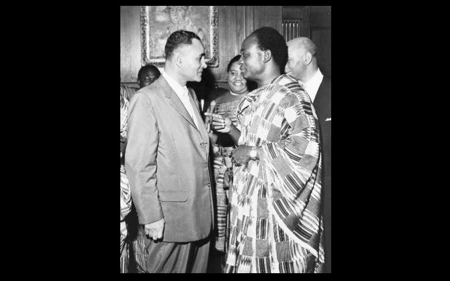 Ralph Bunche meets with Kwame Nkrumah, Prime Minister of Ghana in 1958.