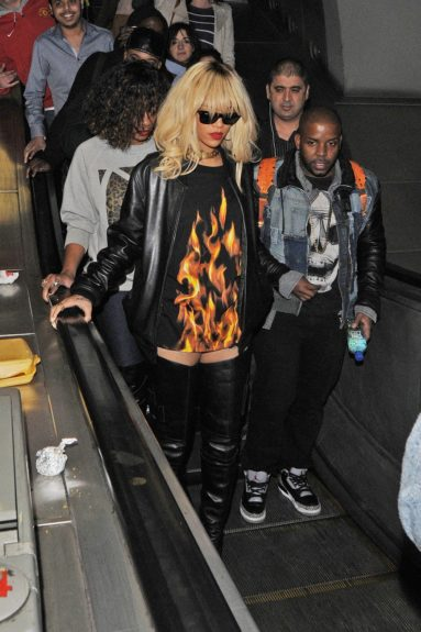 March 27, 2012: Rihanna takes the tube to see Drake perform at the O2 Arena in London, UK.