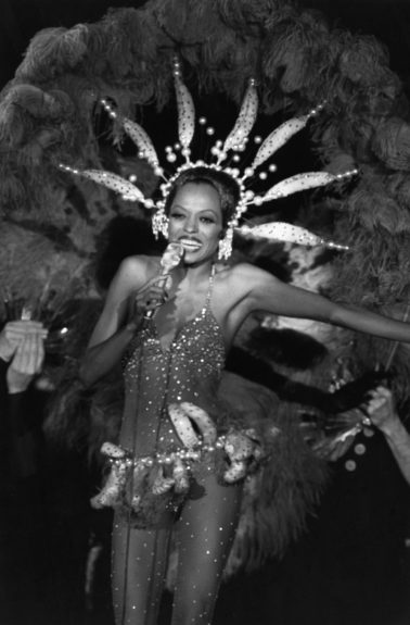 """From the EBONY Collection, Diana Ross impersonates Josephine Baker in her banana suit during a performance of her stage show """"An Evening with Diana Ross."""" View the entire EBONY Collection by selecting STORE in the upper right corner of the homepage."""