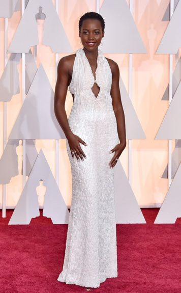 "Lupita Nyong'o: ""6000 pearls went into making her gorgeous Calvin Klein dress, she's a winner yet again!"""