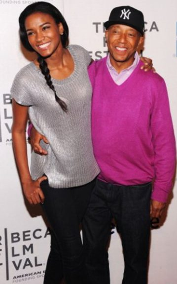 Russel Simmons stays true to his signature style in a pink sweater thrown over a collared shirt and a fitted Yankee cap with a beautiful woman on his arm as his hottest accessory. Miss Universe 2011, Leila Lopes keeps it casual in a metallic knit top with jeans and a playful side braid.