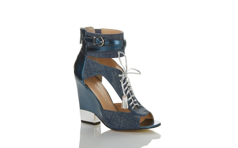 Denim Lace Up Wedge