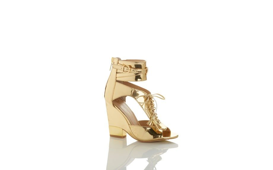 Gold Lace Up Wedge