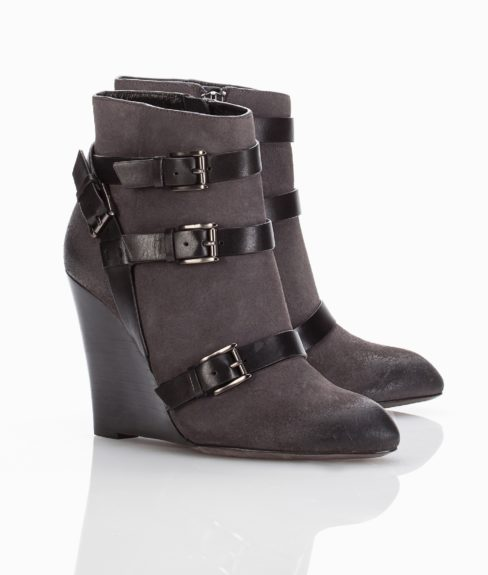 """These RebeccaMinkoffMaggie Booties would look well paired with skinny slacks or tapered trousers, and are the perfect everyday work shoes, $350,<a href=""""http://www.rebeccaminkoff.com/shop/shoes/maggie-charcoal.html"""">www.rebeccaminkoff.com</a>"""