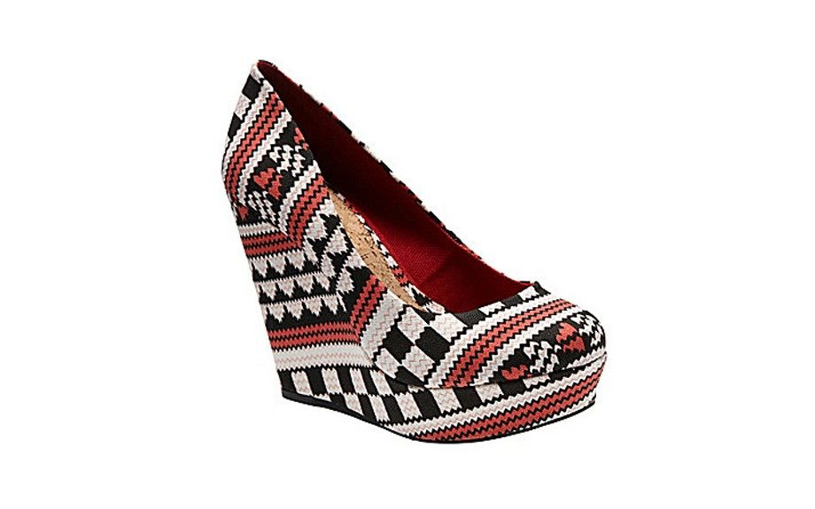 For the Showstopper: GB Gianni Bini Tribal Print Wedges ($50, dillards.com)