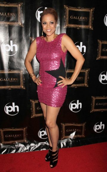 Shaunie O'Neal hosted the Evening at Gallery Nightclub event in Las Vegas in a Backstage dress and Giuseppe Zanotti patent leather heels.