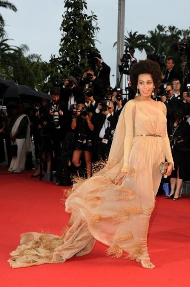 "Solange is undeniably ""<em>Gone with the Wind</em> fabulous"" in this gorgeous Stephane Rolland couture gown while in Cannes. Twirl for us Solo! Photo Credit: Getty"
