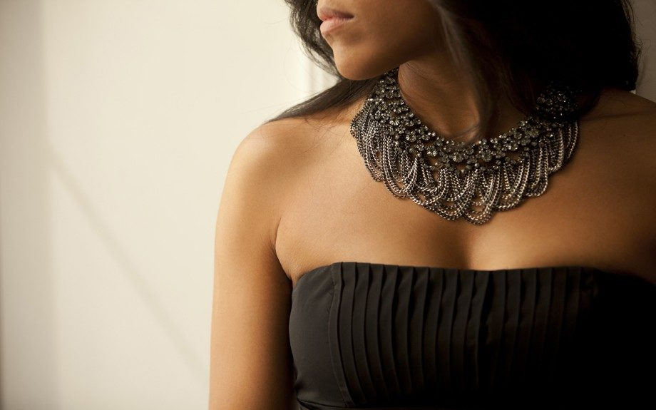 BCBG dresses and gorgeous necklaces for the bridesmaids