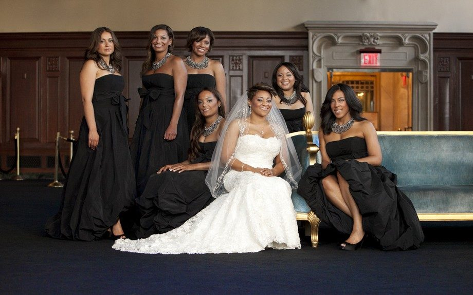 The beautiful bride and her crew in all black gowns