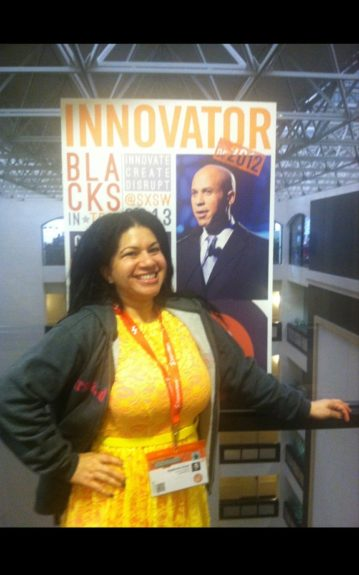 Yes, that's me: Stephanie Scott of First and Last PR looking good and hanging out in between panels at the Blacks in Tech conference