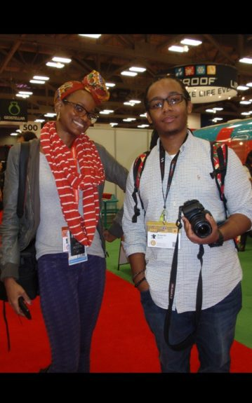 Our very own Mary Pryor and friend Jamal Orr researching what's new in tech on the Austin Convention Center floor