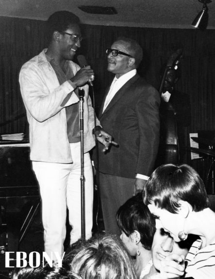 """Comedian Bill Cosby is greeted by actor Redd Foxx at a night club in L.A. (Bill Gillohm) Shop the entire EBONY Collection<strong><a href=""""http://www.ebony.com/store#axzz2PsEj7sec"""" target=""""_blank"""">here</a></strong>."""