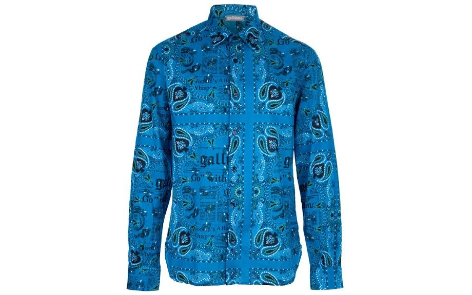 Galliano Printed Shirt: ($185.72; farfetch.com)  A cool blue paisley and text-printed shirt that has the essence of the '70s with a modern twist. Image credit: farfetch.com