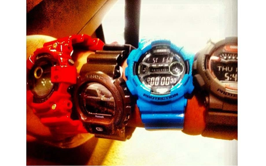 Keeping time with this wrist full of G-Shock watches.