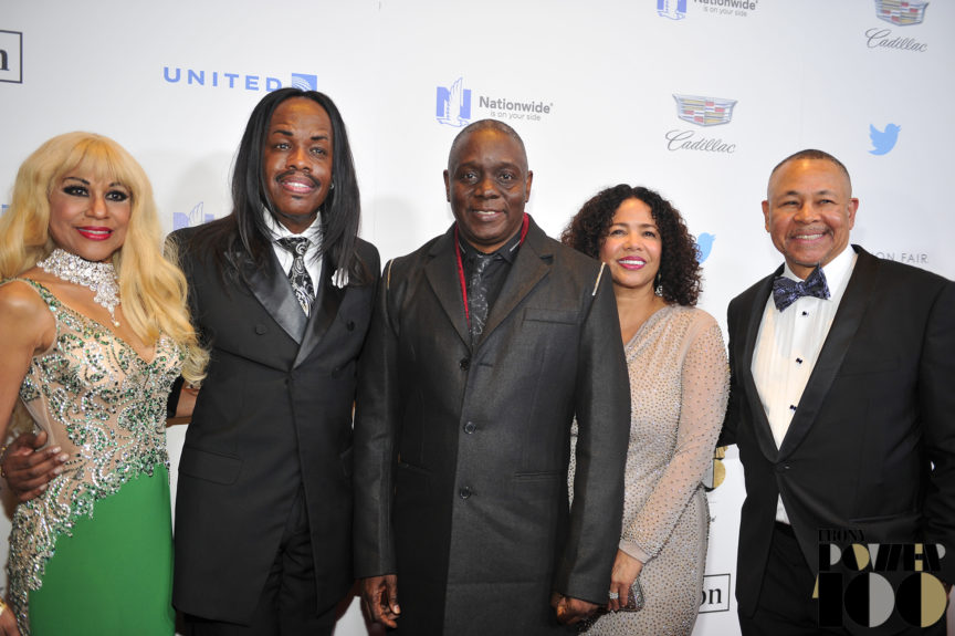 (left) Shelly Clark, Earth, Wind and Fire's Verdine White, Phillip Bailey, Susie and Ralph Johnson