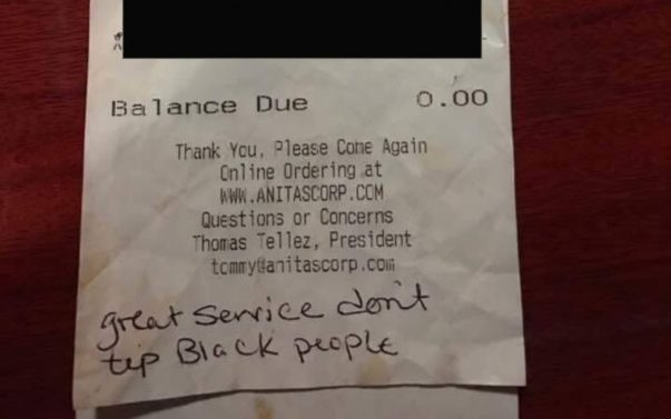 Black Waitress Gave 'Great Service' to Racist Couple Who Left No Tip