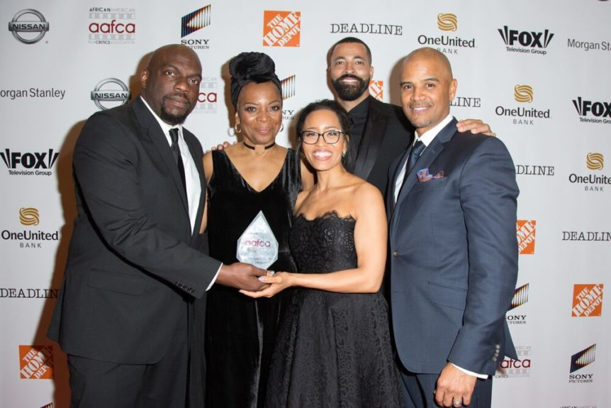 Cast of 'Queen Sugar,' winner of Best TV Show, drama - (left) Omar J. Dorsey, Tina Lifford, Dawn-Lyen Gardner, Timon Kyle Durrett, Dondre Whitfield (Photo: Sheri Determan)
