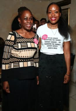 (L-R) First Lady of New York City, Chirlane McCray poses for photos with designer Tracy Reese during the Tracy Reese presentation. (Photo by Astrid Stawiarz/Getty Images)