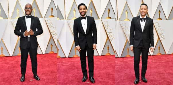 Barry Jenkins in Dior Homme, André Holland and John Legend in Gucci. Photo by Frazer Harrison/Getty Images