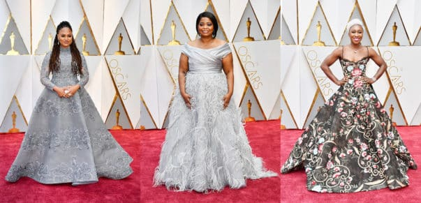 Ava DuVernay in Ashi Studio, Octavia Spencer in Marchesa and Cynthia Erivo. Photo by Frazer Harrison/Getty Images