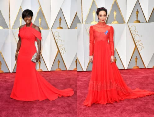 Viola Davis in Armani Privé and Ruth Negga in Valentino and an ACLU ribbon. Photo by Frazer Harrison/Getty Images