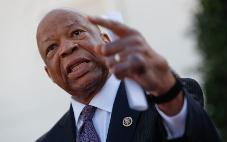 Rep. Elijah Cummings addresses reporters after a March 9 White House meeting with President Trump on prescription drug costs -- and his racial rhetoric. AP / Pablo Martinez Monsivais