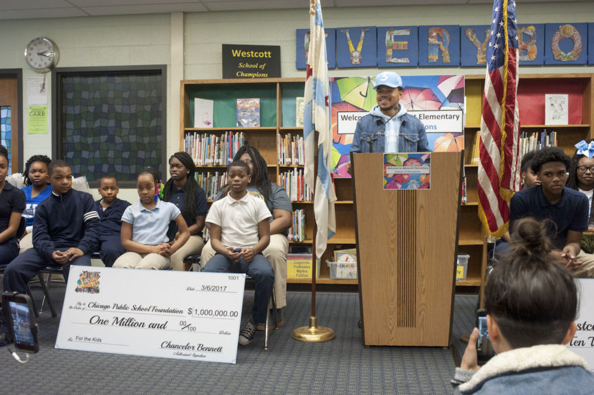 Chance The Rapper announces a donation of $1 million to the Chicago Public Schools March 6, in response to the needs of the community. Chan C. Smith / EBONY