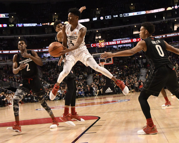 Jaylen Hands, (no. 3) Boys West team, looks to pass against the boys east team during the 2017 McDonalds's All American Game on March 29 in Chicago. David Banks / Getty Images
