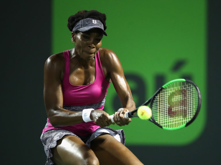 Venus Williams of USA in action in her match against Johanna Konta of Great Britain in the semi finals at Crandon Park Tennis Center on March 30 in Key Biscayne, Florida.  Julian Finney / Getty Images