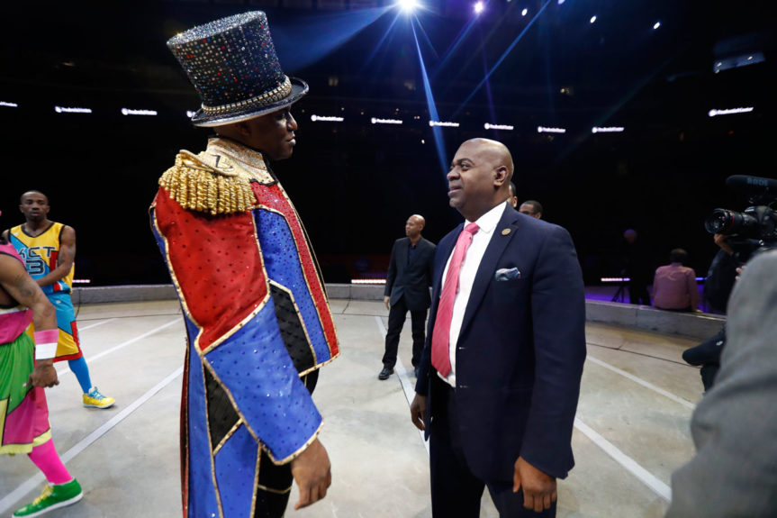 Newark Mayor Ras Baraka, right, with Johnathan Lee Iverson, a ringmaster with Ringling Bros. and Barnum & Bailey Circus, the first African-American to hold the position. The circus will close after 146 years this Spring and have its final performance in New Jersey on March. 12 AP / Julio Cortez