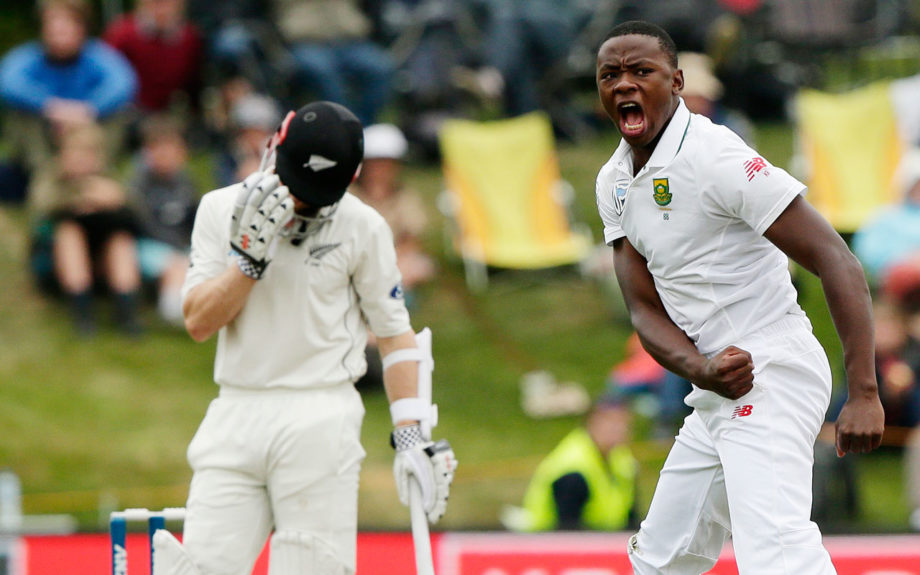 South Africa's Kagiso Rabada, right, celebrates after dismissing New Zealand's Kane Williamson for 130 runs during the first cricket test at University Oval, Dunedin, New Zealand, Friday, March 10 AP / Mark Baker