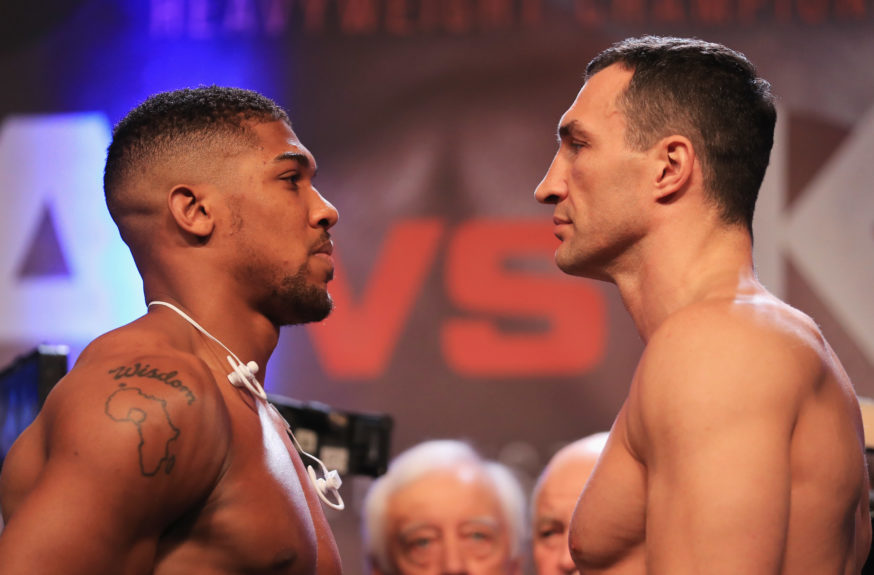 Anthony Joshua and Wladimir Klitschko face each other during the weigh-in prior to the Heavyweight Championship contest at Wembley Arena on April 28 in London. Richard Heathcote/Getty Images