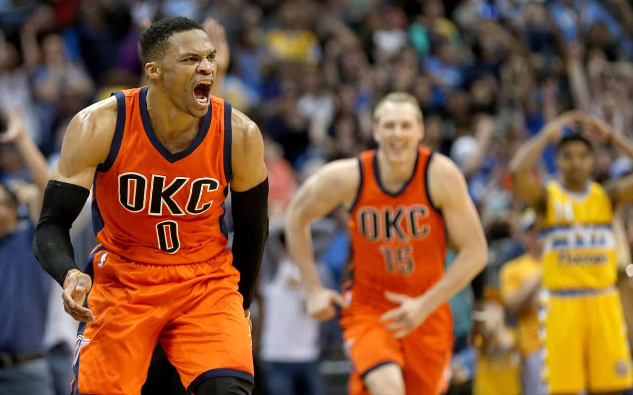 31a0f62a3 Oklahoma City s Russell Westbrook celebrates after scoring a game-winning