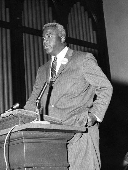 Jackie Robinson is pictured speaking in 1962. (Maurice Sorrell/ EBONY Collection)