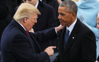 Donald Trump Barack Obama during the 58th Presidential Inauguration