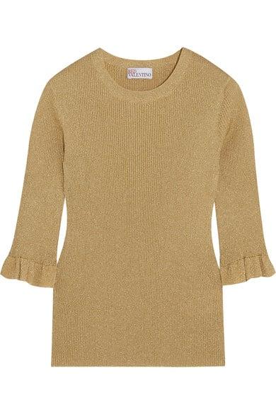 REDVALENTINO Metallic ribbed-knit sweater via Netaporter.com