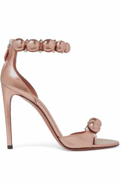ALAÏA Studded metallic leather sandals via Netapoter.com