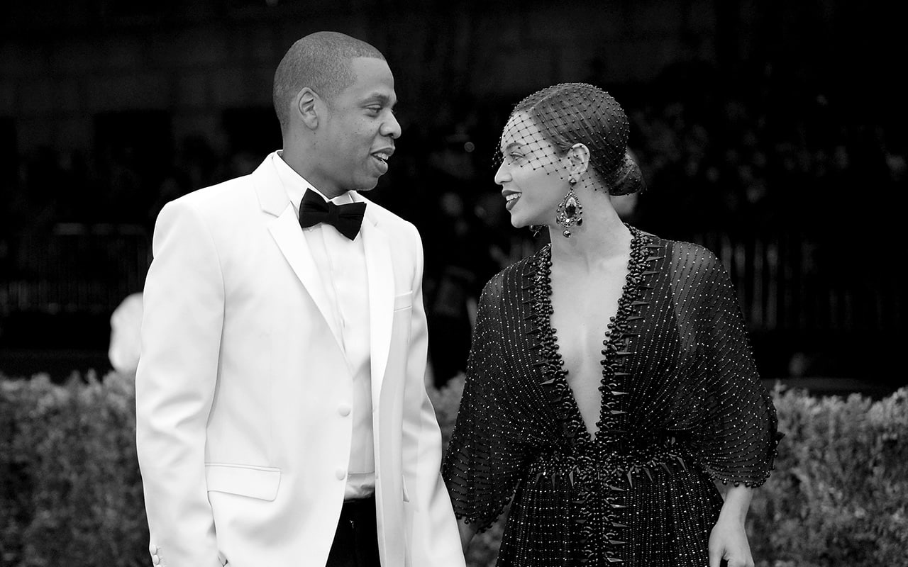 New york ny may 05 editors note image was converted to black and white jay z l and beyonce attend the charles james beyond fashion costume