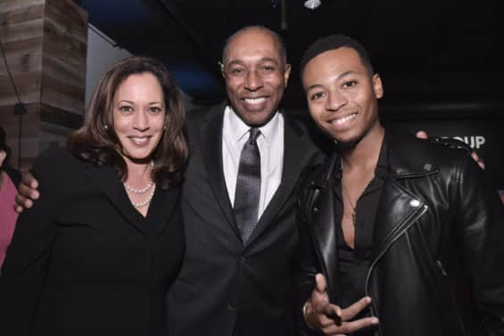 Senator Kamala D. Harris (D-CA_ Jeff Harleston, General Council of UMG, and Kevin Ross attend the Universal Music Group and Ebony celebration in her honor during 2017 CBCF ALC at Ajax Gallery on Thursday, Sept. 21, 2017, in Washington, DC. (Photo by Kris Connor/Invision for Universal Music Group/AP Images)