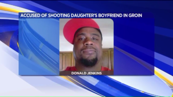 Donald Jenkins, Jr. shot his daughter's boyfriend in the groin.