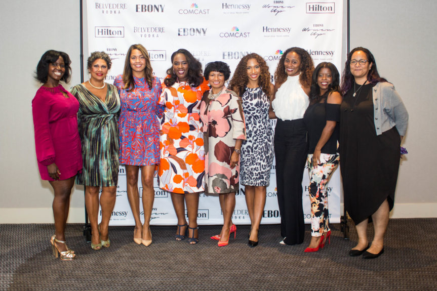L-R: Kehinde Akiwowo, Integrated Media Sales, EBONY, Arlene Noel, SVP of Sales, EBONY, Danielle Lee, Global Head of Partner Solutions, Spotify, Andrea Richardson, Director, Resorts and Multicultural Marketing, Hilton, Rosalind Hudnell, President Intel Foundation, Angelina Darrisaw, Founder and CEO of C Suite Coach, Adrienne Lofton SVP, Global Brand Management Under Armour Inc., Keesha Boyd ED, Multicultural Consumer Services Comcast Corporation, Anastasia  WIlliams, EBONY Media Operations