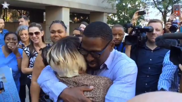 Lamonte McIntyre after his 23-year wrongful imprisonment.
