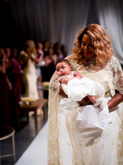 """Alexis Ohanian Jr. """"walking down the aisle"""" with Serena's mom (Photo cred: @comiclonilove)"""
