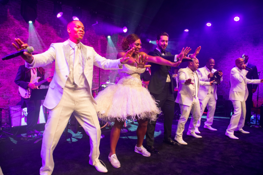 Serena Williams and Alexis Ohanian dancing with famed R&B group New Edition (Photo Cred: @neweditionfanz)