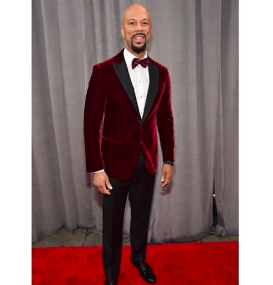 Rapper and actor Common looking wine-fine in burgundy and velvet.