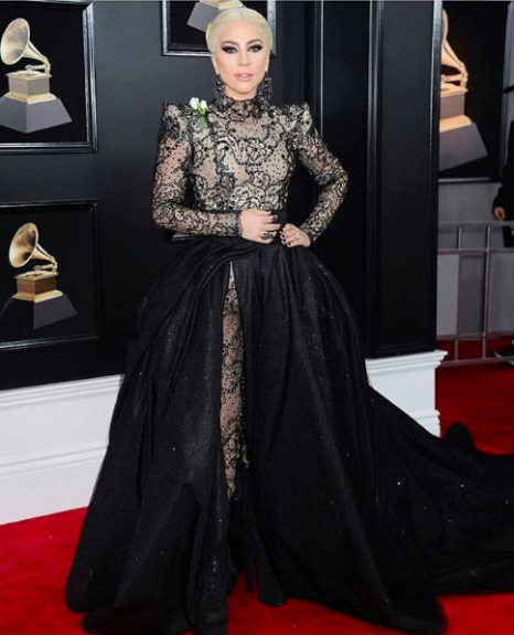Singer Lady Gaga did not come to play in black and lace