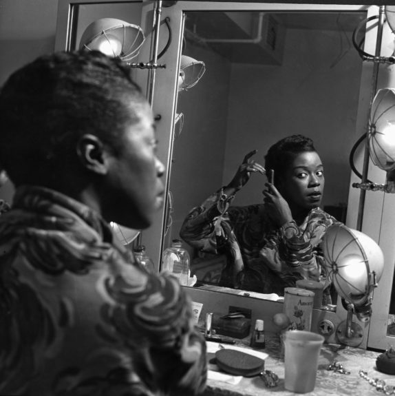 Legendary jazz singer Sarah Vaughan takes her time in getting ready in her dressing room.