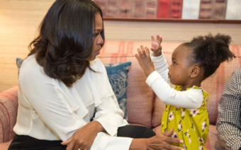 Michelle Obama Meets 2-Year-Old in Awe of Her Portrait