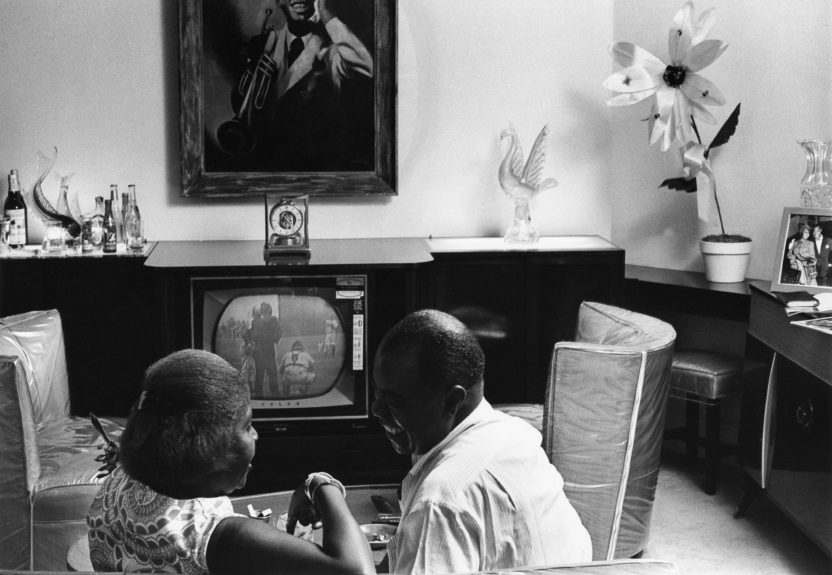 Louis Armstrong with wife, Lucille Armstrong.  This image was featured in the November 1964 issue of EBONY.