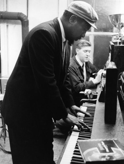 Thelonious Monk playing the piano in May of 1959.